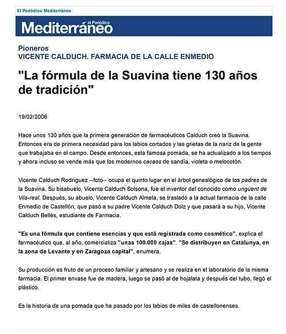 La fórmula de la Suavina tiene 130 años de tradición - El Periódico Mediterráneo